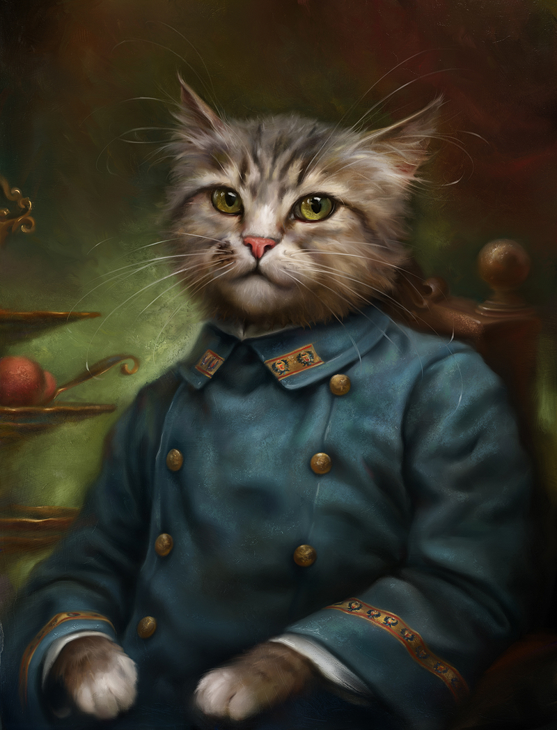 anthro Cat hermitage portrait Oils kitten cute animal costume historical Beautiful Classic