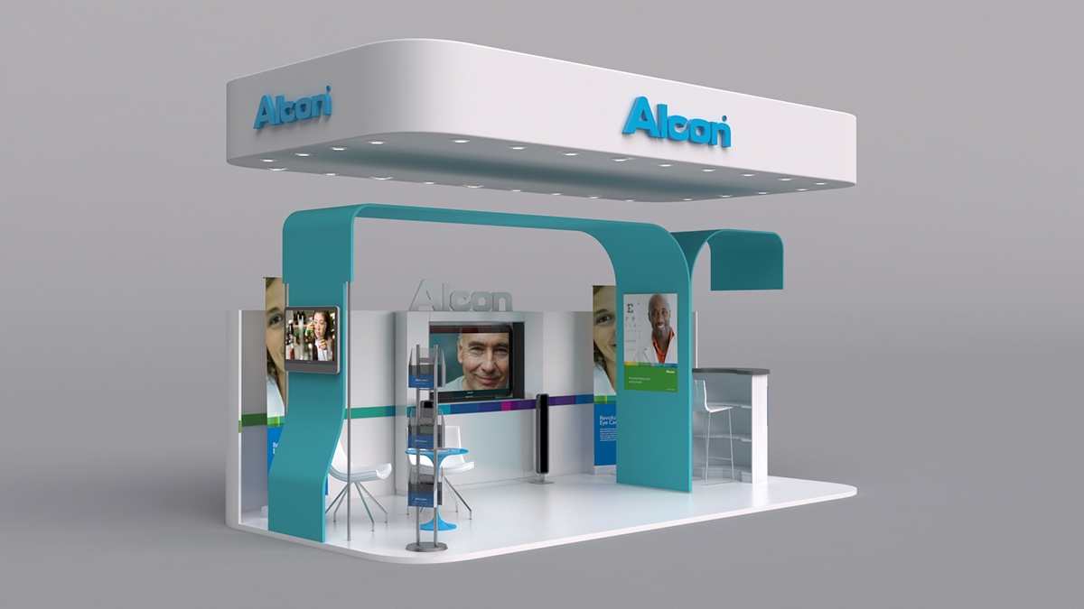 Exhibition Booth Free Download : Alcon booth on behance