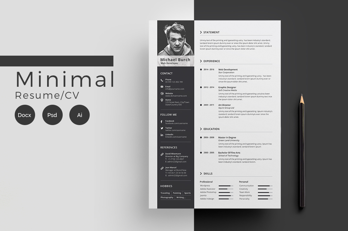 Minimal Cv-Resume on Behance