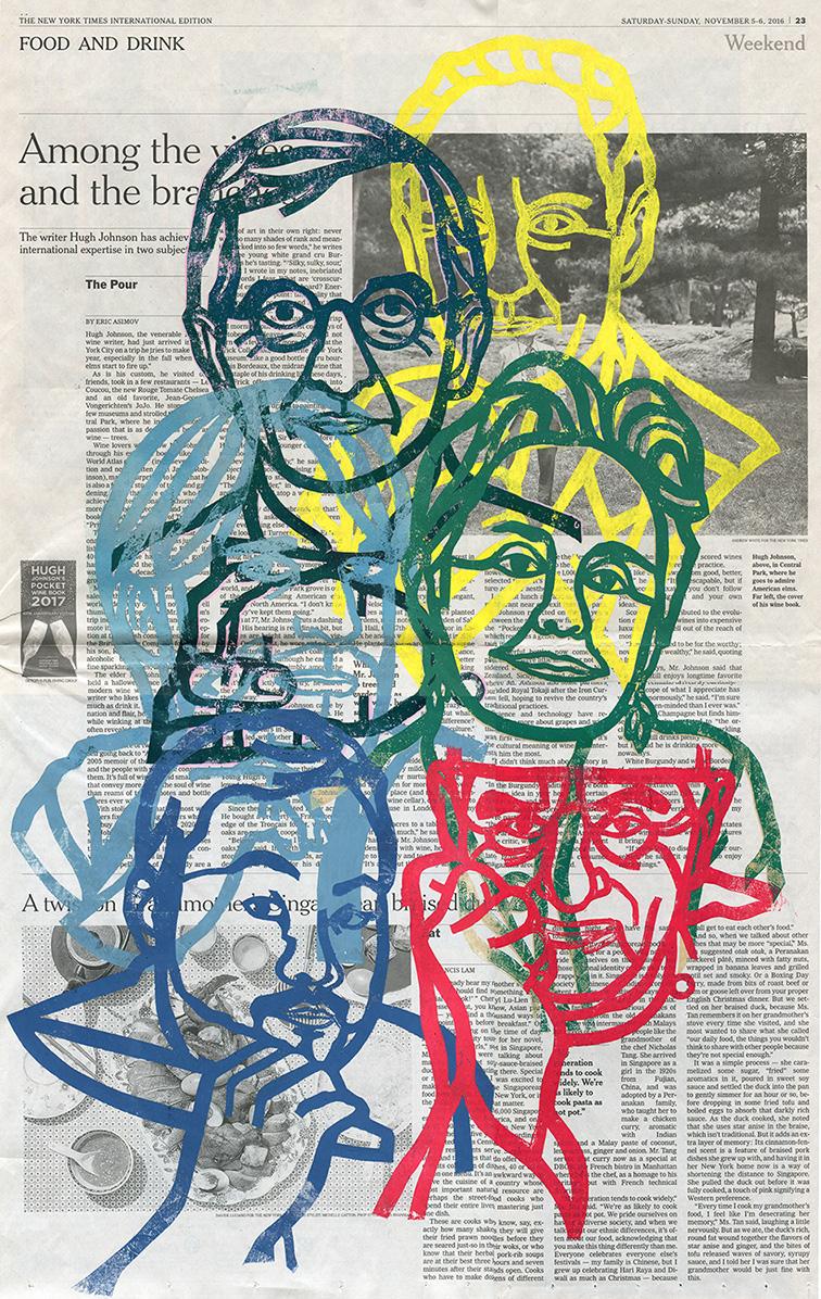 cut paper paper cut hand printed portrait chef restaurateur editorial cutting paper print