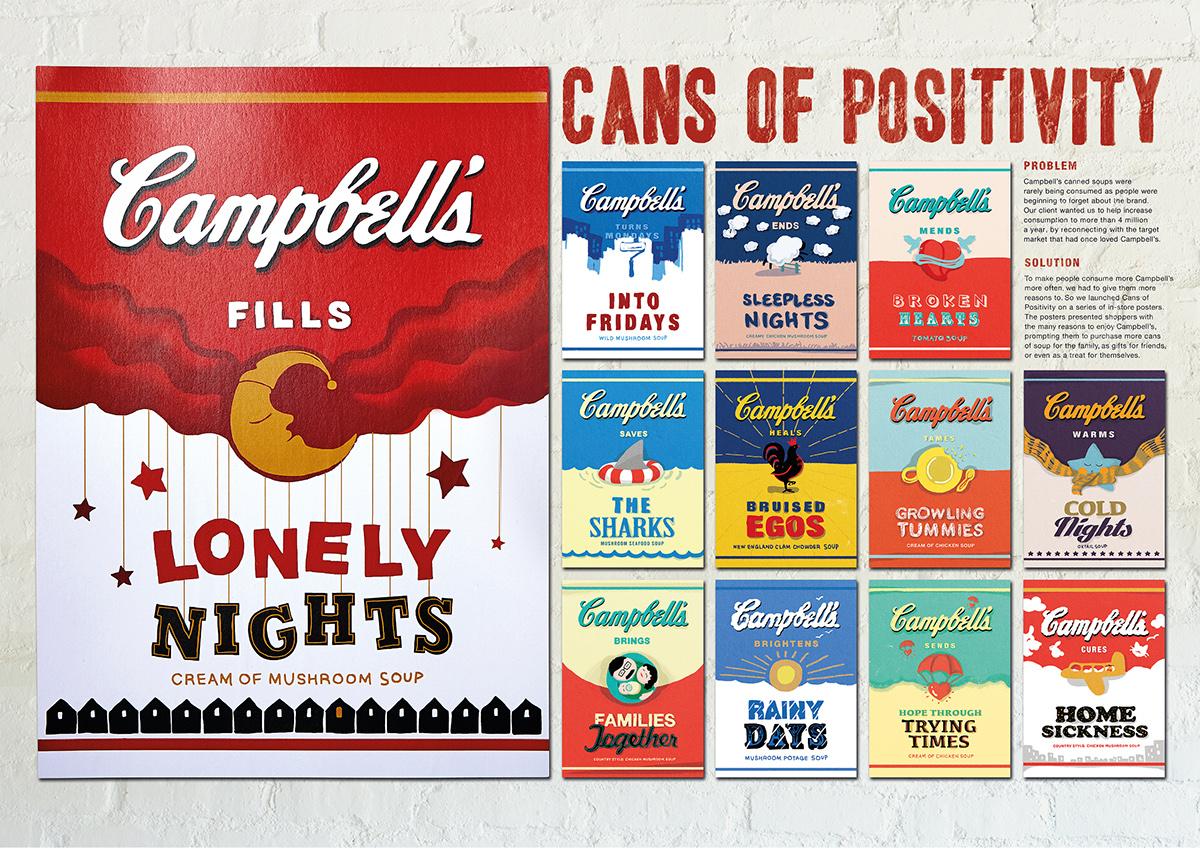 campbell's Positivitiy cans Soup Food  Mushroom Soup
