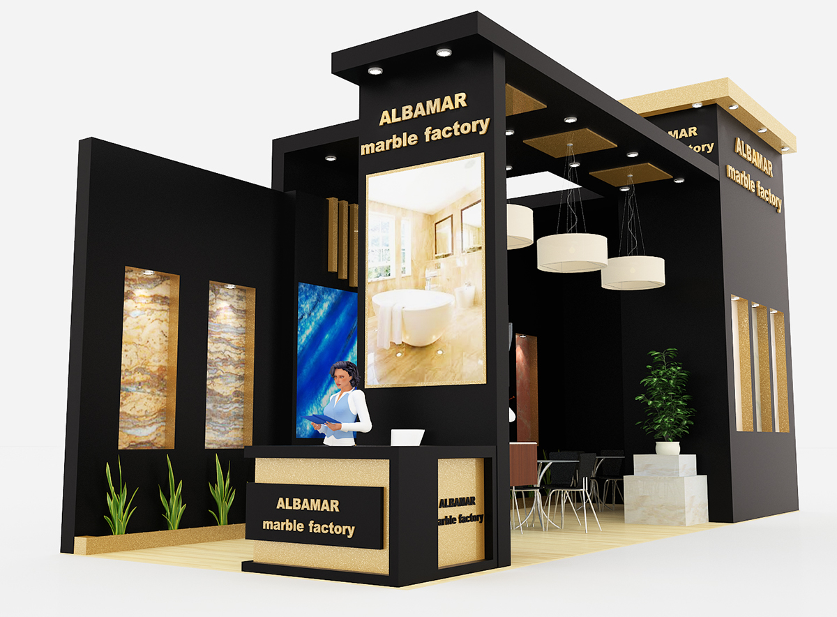 Exhibition Stand Quotation Format : Albamar marble exhibition stand on behance