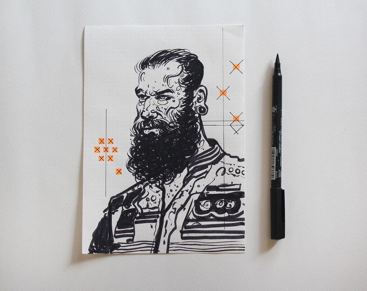 portraits beard masculine sketching