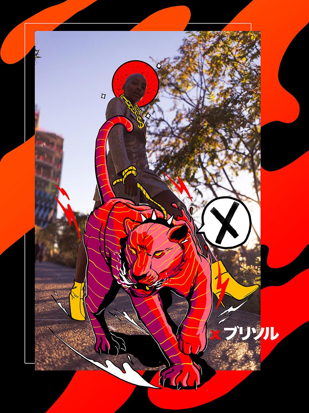 anime collage Digital Art  doodle Fashion  graphic hijack typography