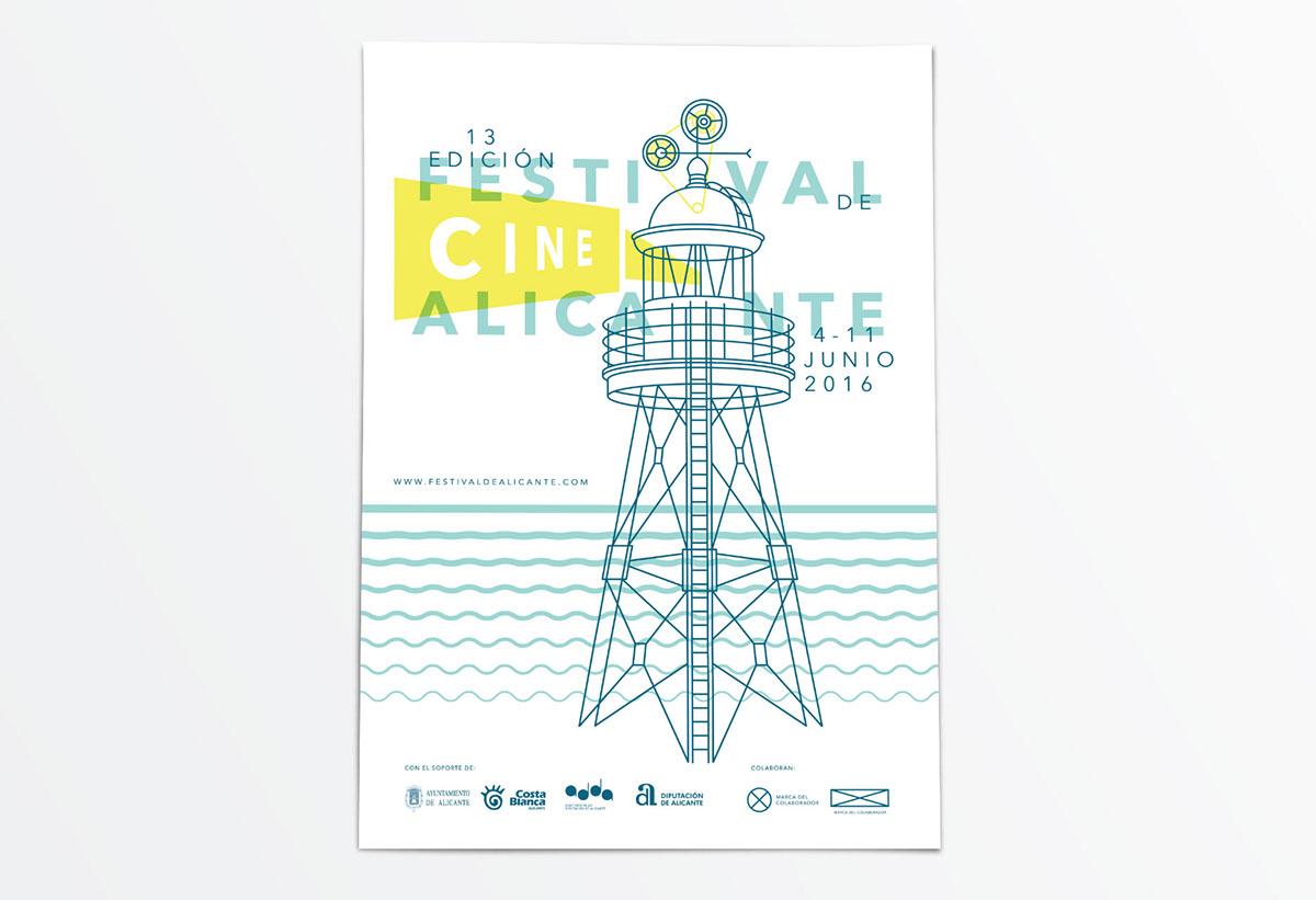 cartel alicante Diseño editorial cartelería festival de cine Propuesta Gráfica