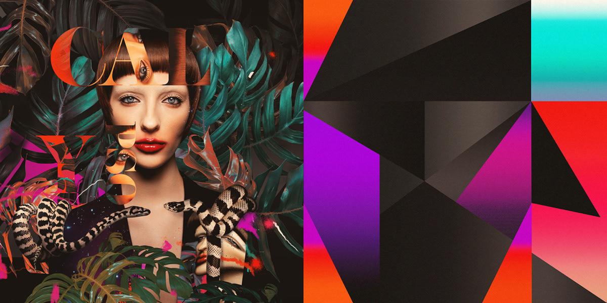 face portrait Fashion  lips graphics geometric collage snake poster gradient