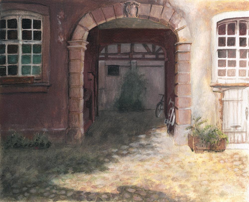 painting   colorstudy innercourtyard courtyard cobblestones strasbourg Petite France cour intérieure Paves peinture