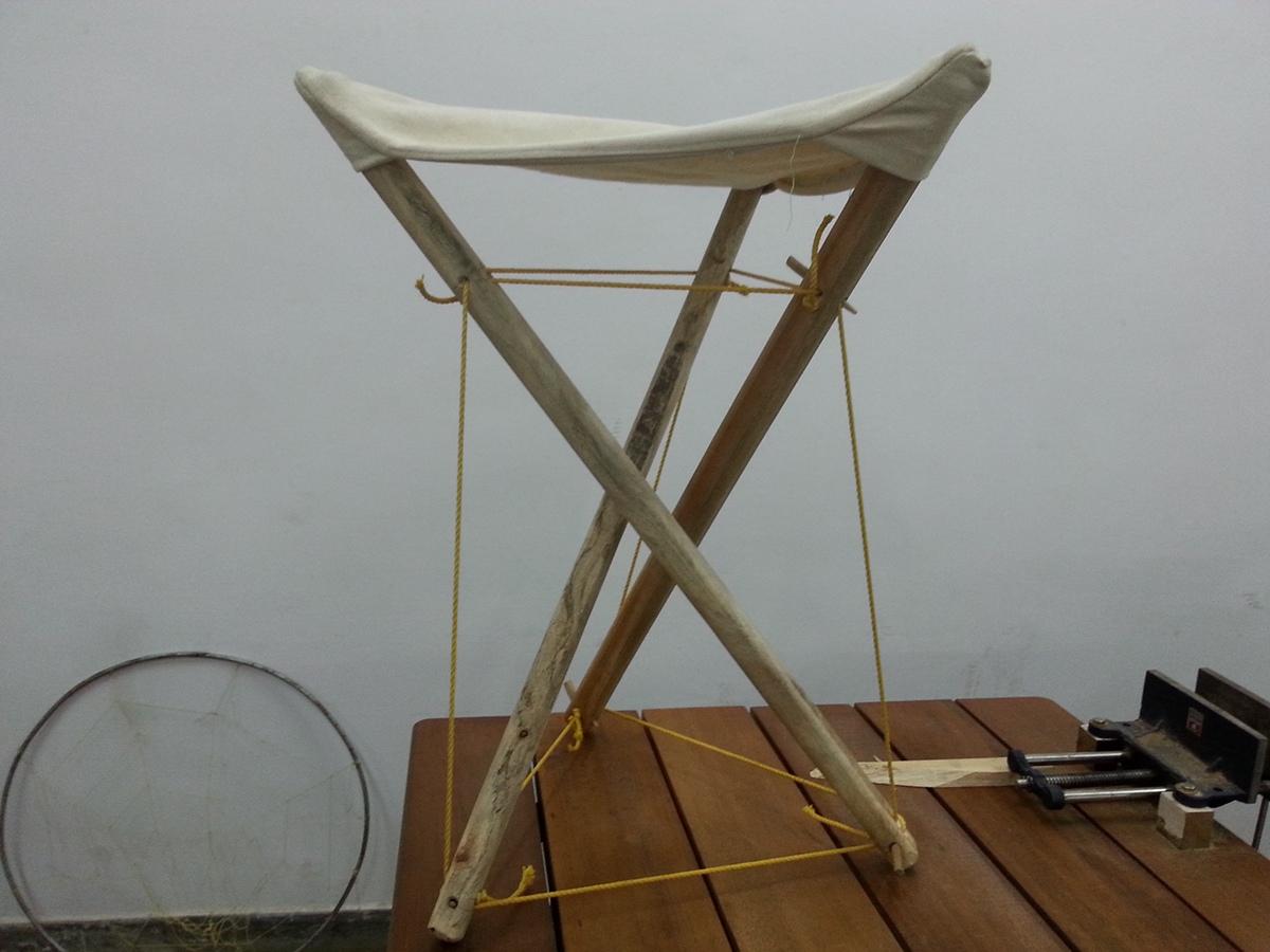 tensegrity furniture. a pentagonal stool tensegrity with 5 struts using the same method furniture i