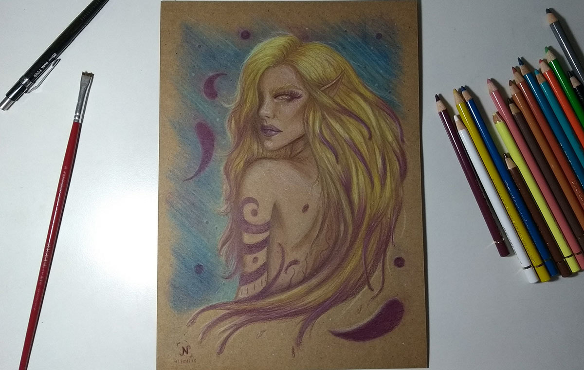 pastel pencil drawings Pastel pencil drawings art Drawing  TRADITIONAL ART polychromos elf elves graphite