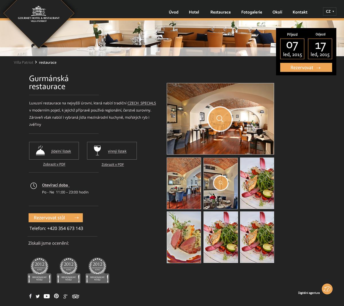 Webdesign hotel reservation luxury black gourmet restaurant Website Web cesky Czech