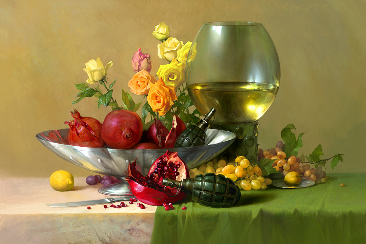 military still life still life with weapons flowers and fruit Weapon calendar Military guns