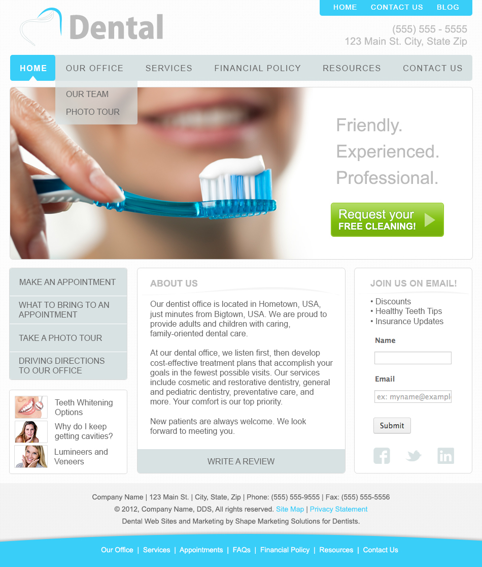 Dental Website Template Concepts On Behance