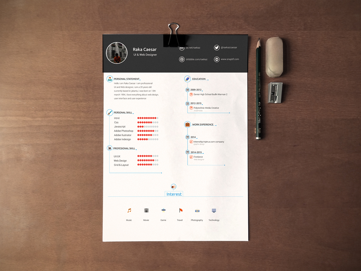 Resume / cv template - free download on Behance