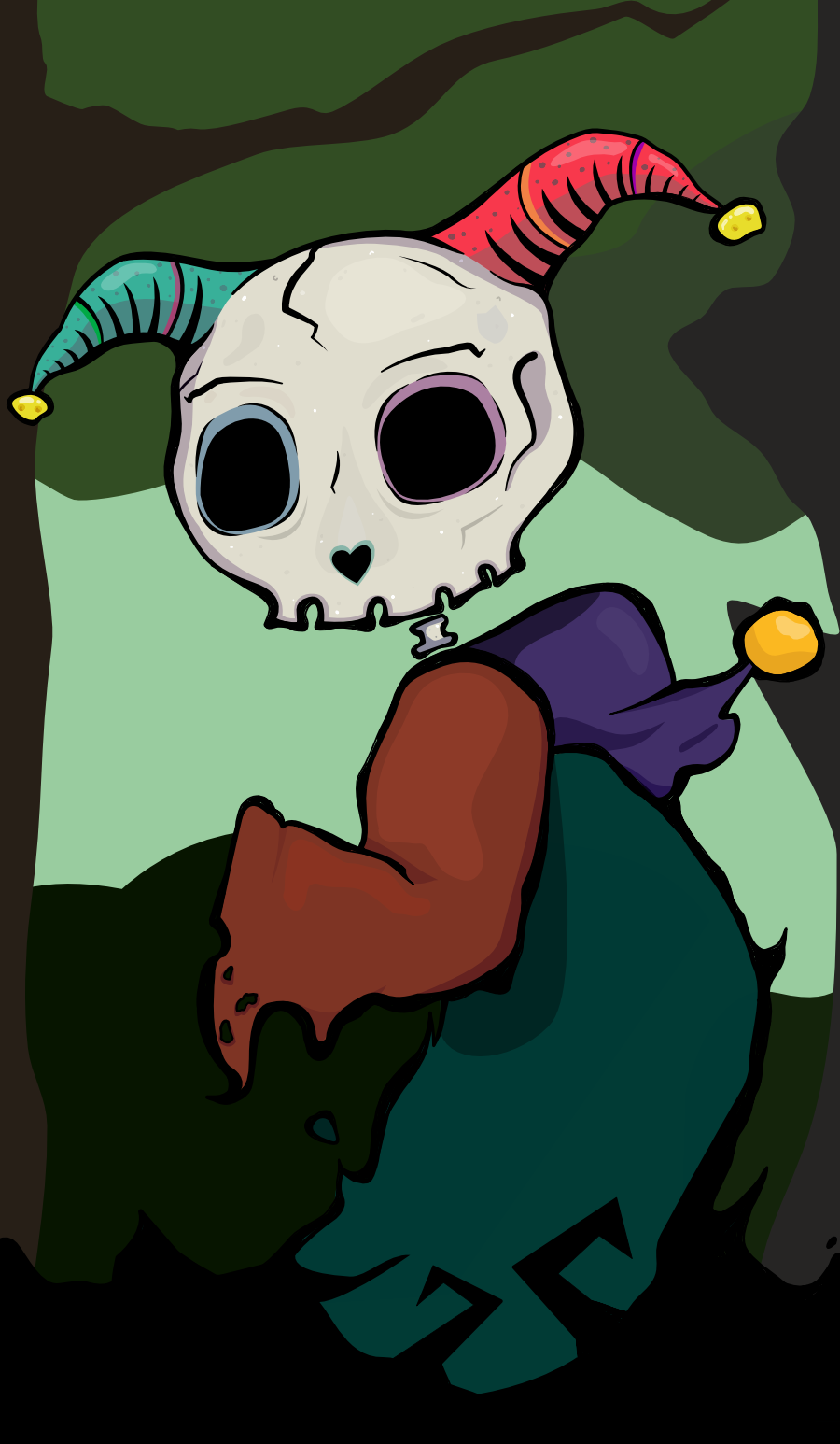 evil jester line art Satan skeleton skull spooky tarot tarot card the fool