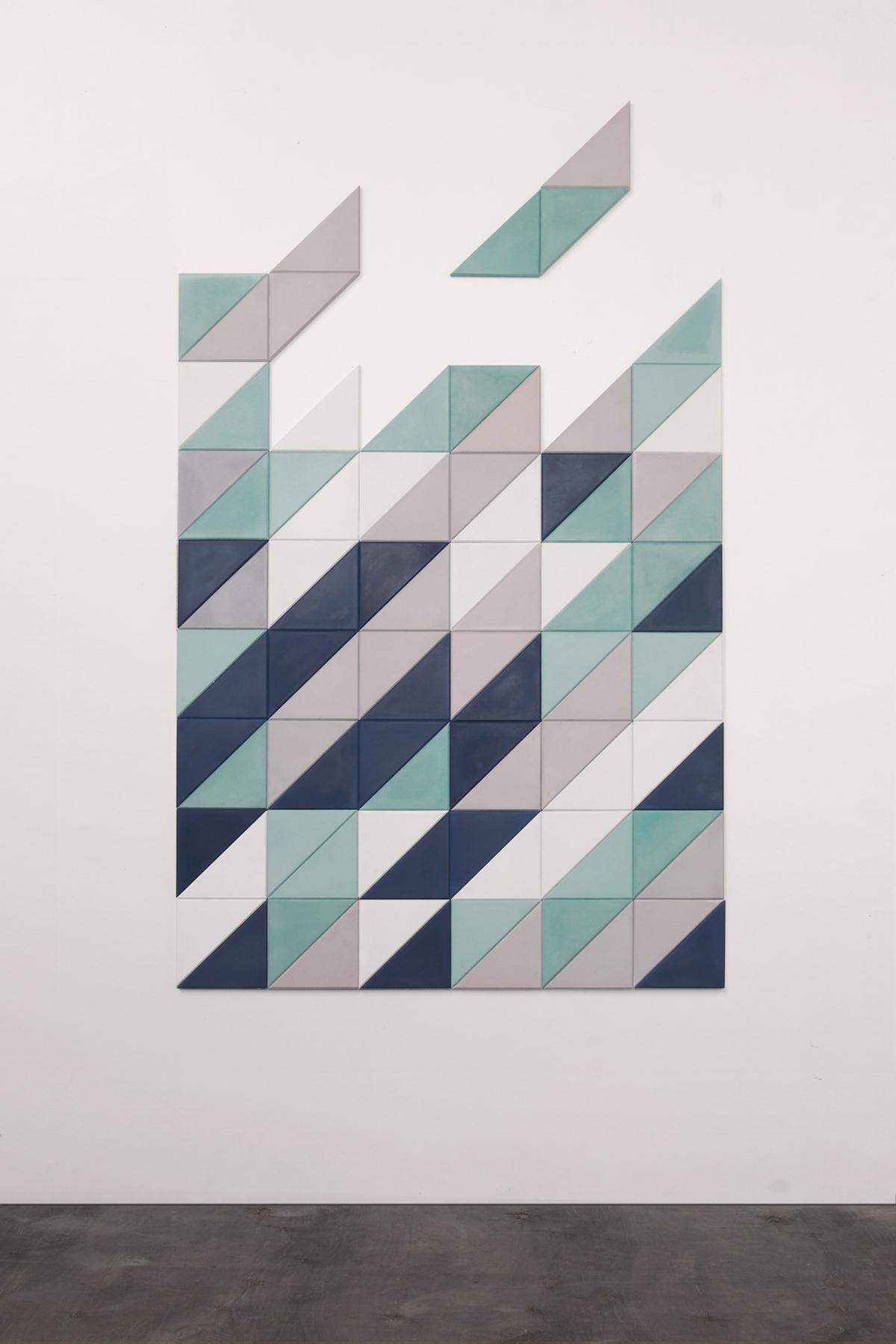 tile concrete wood LOFT minimalist fild design wall FLOOR triangle delata color mint pink grey