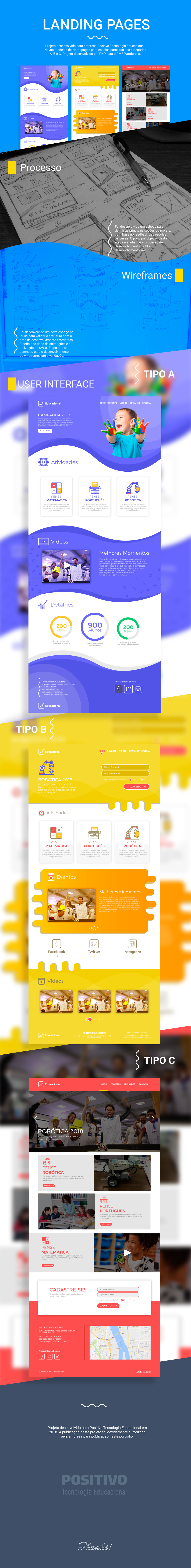 landing page ux UI ai photoshop Illustrator adobe educacional Positivo design de interface
