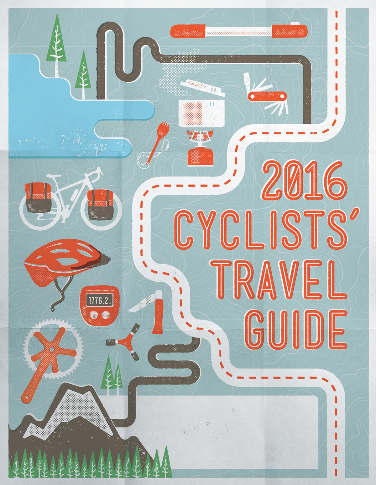 Cycling Bicycle Travel ILLUSTRATION  vector screenprint