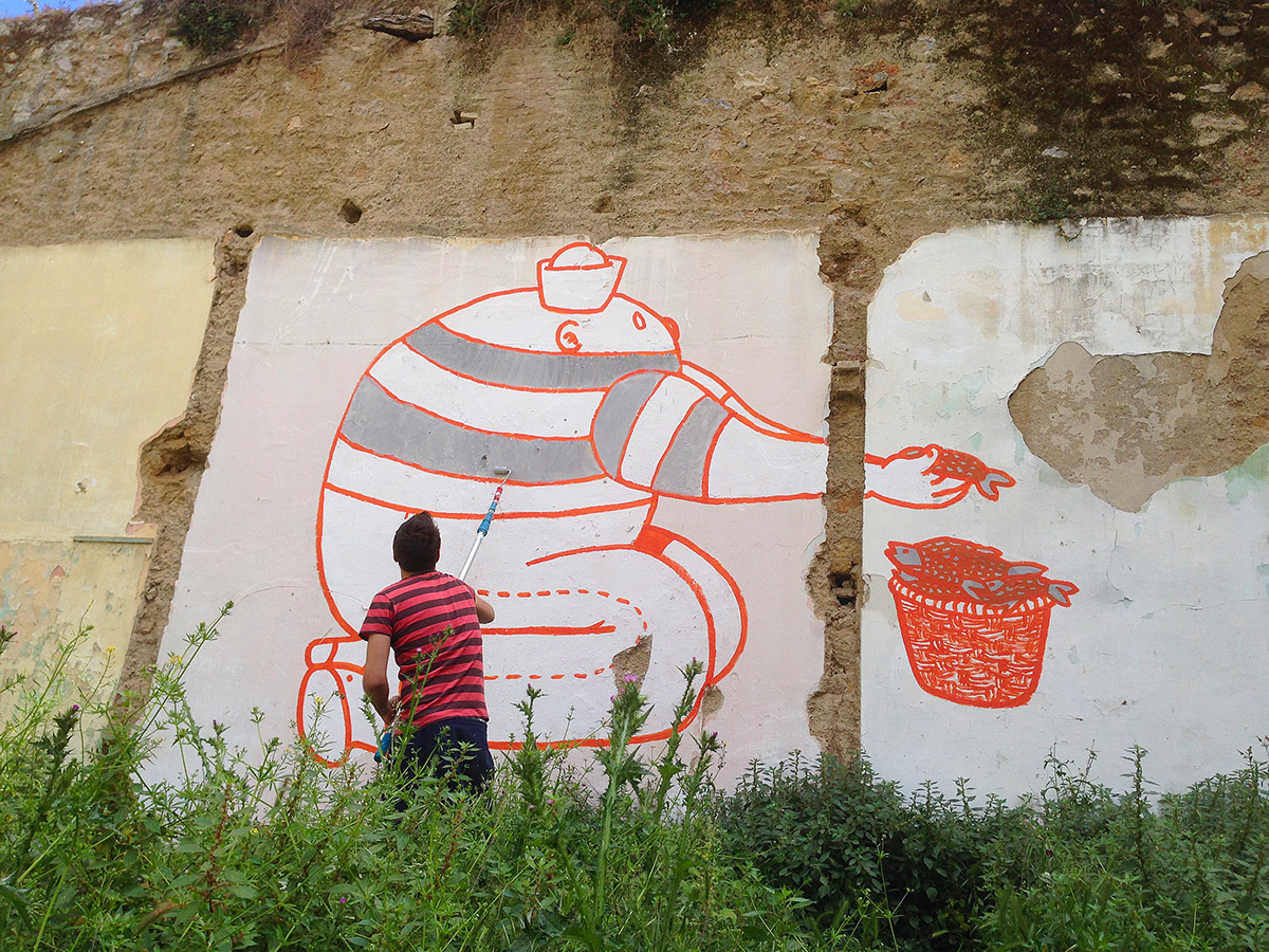 Character design  painting   red Street Art
