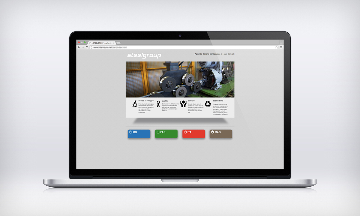 sito web identity steel acciaio corporate Icon RESTYLING