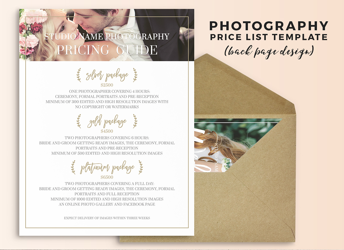 Wedding Photography Price List Photoshop Template on Behance
