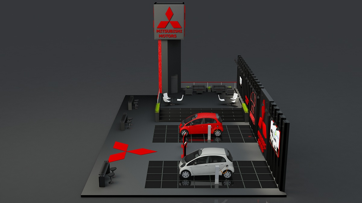 Exhibition Stand Design 3d Max : Exhibition stand made in d max and vray for mitsubishi on behance