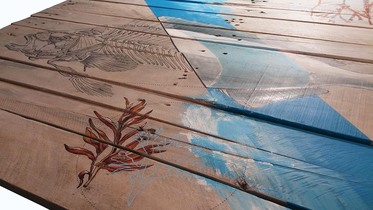 madera wood reciclaje RECYCLED Pallet pez fish mar sea water deco art