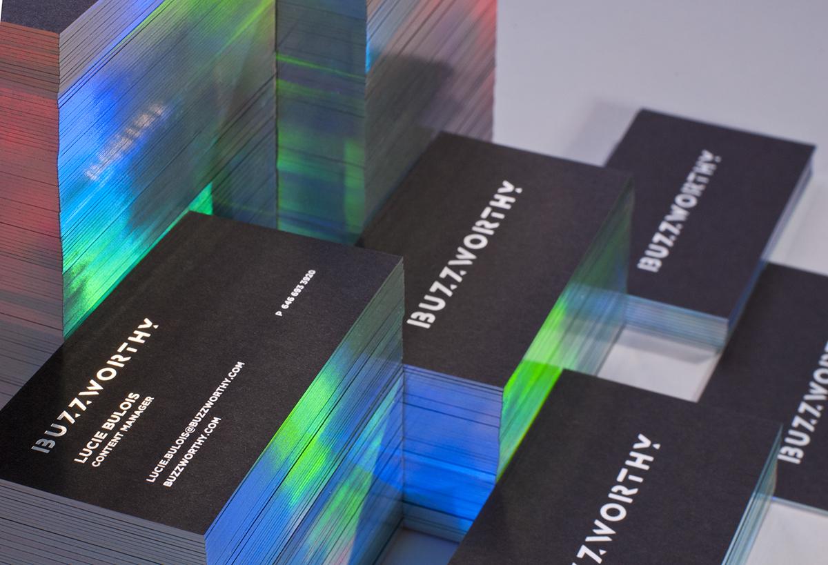 buzzworthy buzz worthy business card print holography rainbow colors elegant black paper photo studio Original