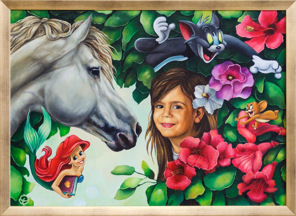 girl portrait horse Flowers