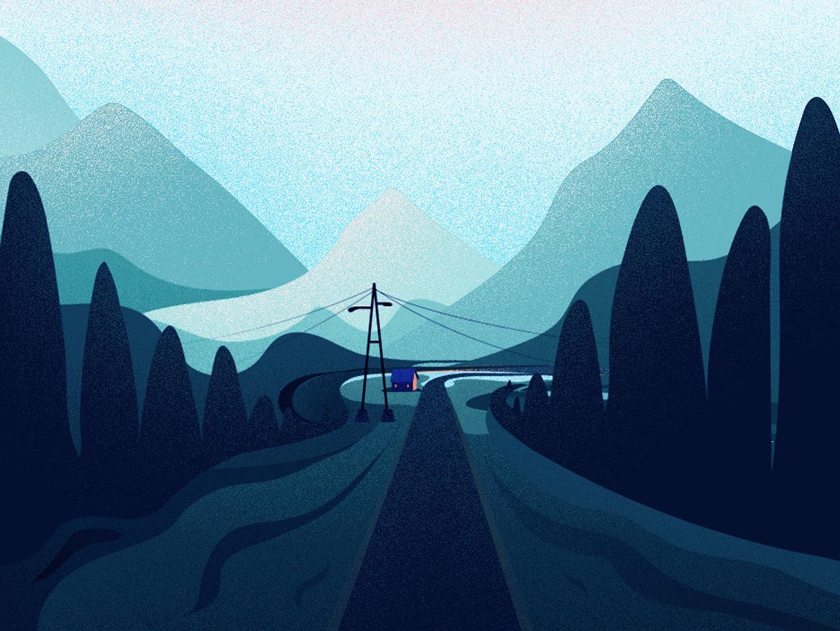 background,birds,hill,house,ILLUSTRATION ,Landscape,Nature,nature illustration,LANDSCAPE ILLUSTARTION,Travel