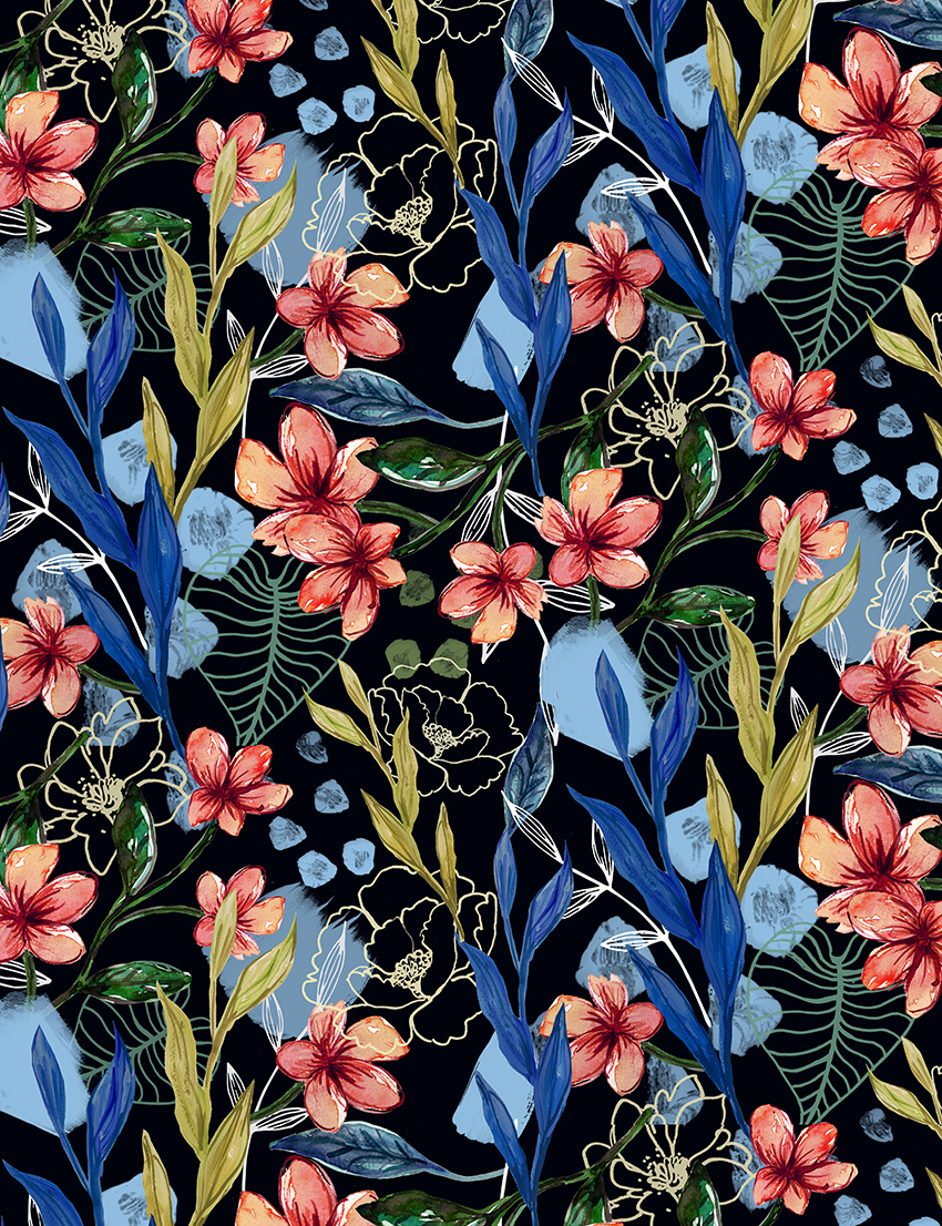 Winter tropical floral print on Behance