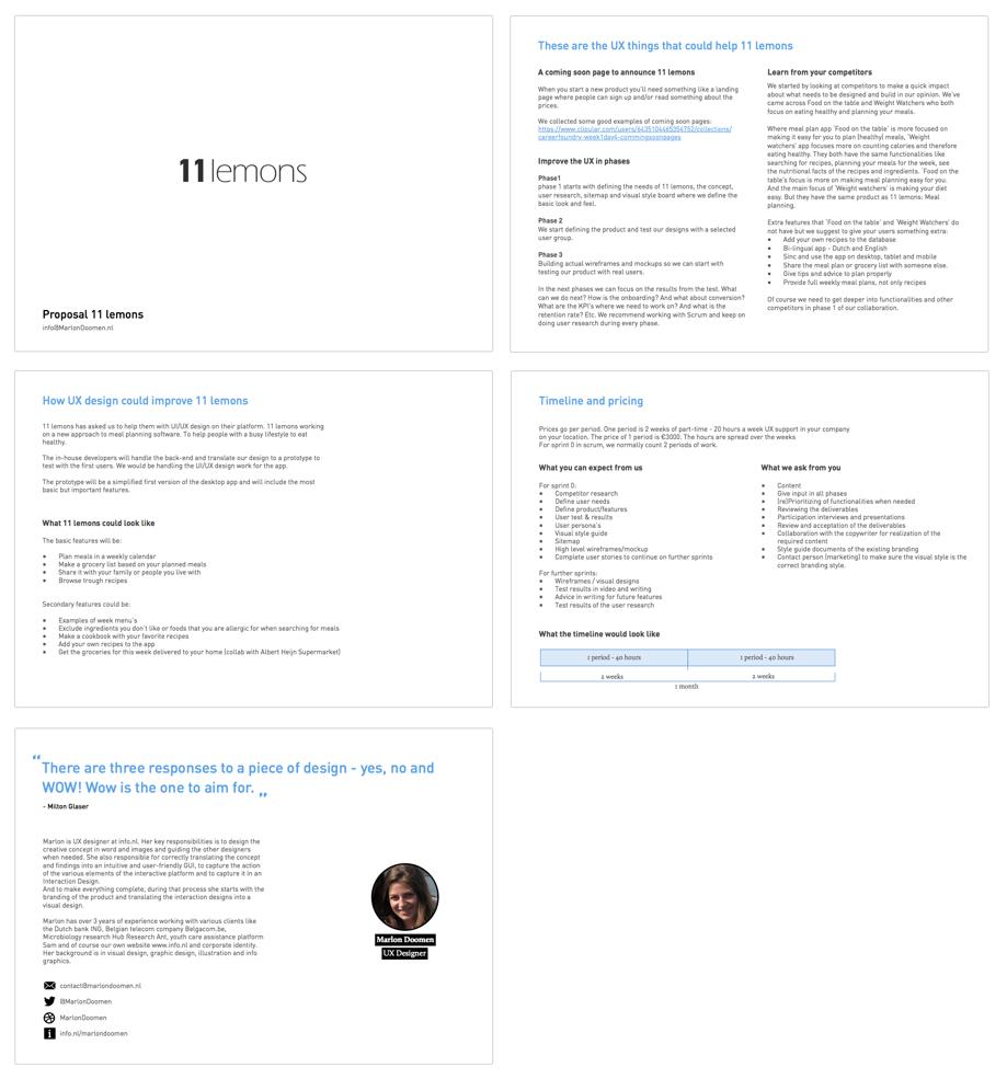healthy eating meal planning ux UI web app visual design calendar grocery list persona wireframe Proposal 11lemons