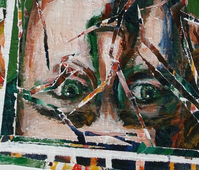 acrylic linen Portraiture portrait Human Body figurative figure Disease medical history insanity ebola death sick  five blue marks