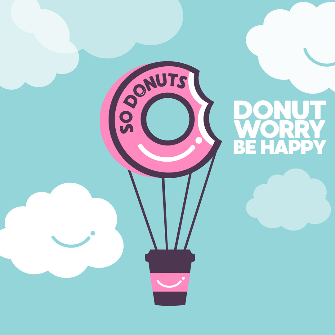 doughnut marketing presentation tone of voice and happy clouds