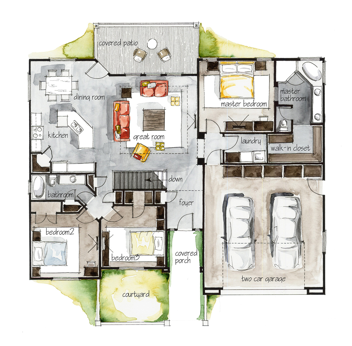 Real estate watercolor 2d floor plans part 3 on behance for Interior design layout drawing