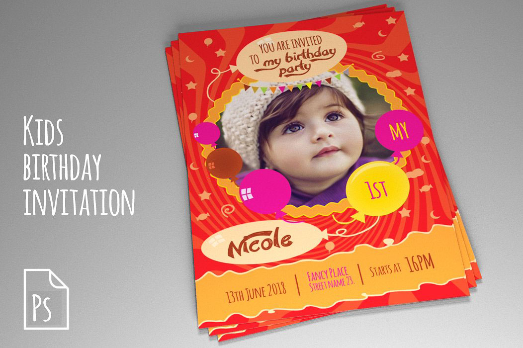 Kids Birthday Invitation PSD vol. 2 on Behance