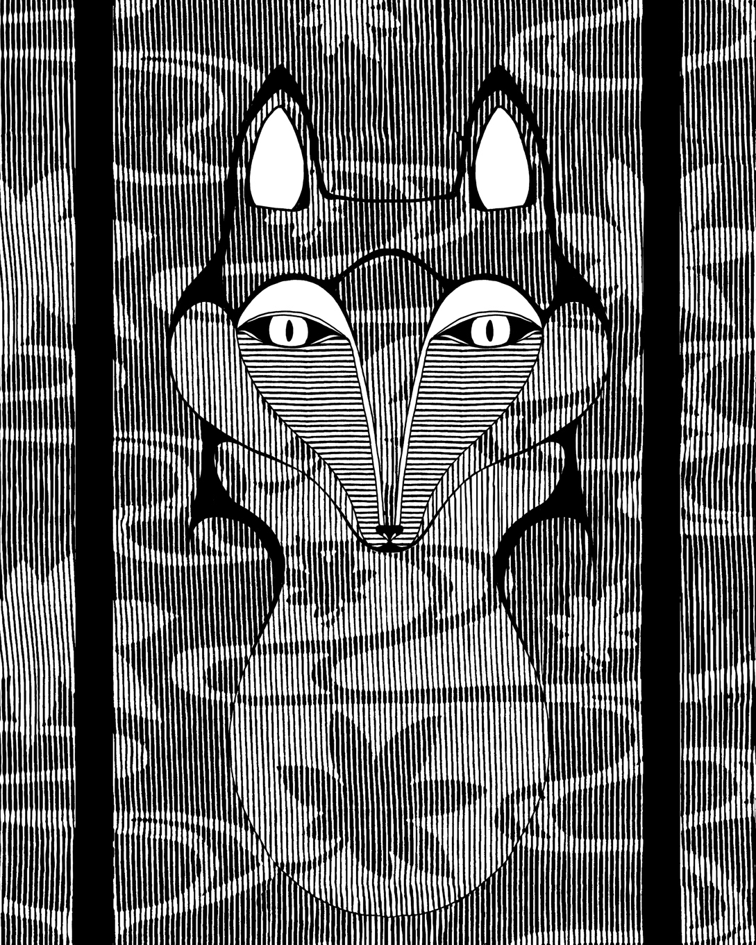 screen printing FOX frog Herons Black&white t-shirts