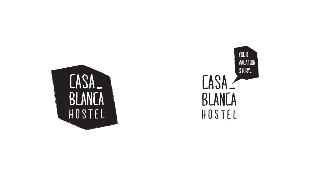 hostel Casablanca hotel visual identity logo Logotype graphic design  branding  talking bubble Travel