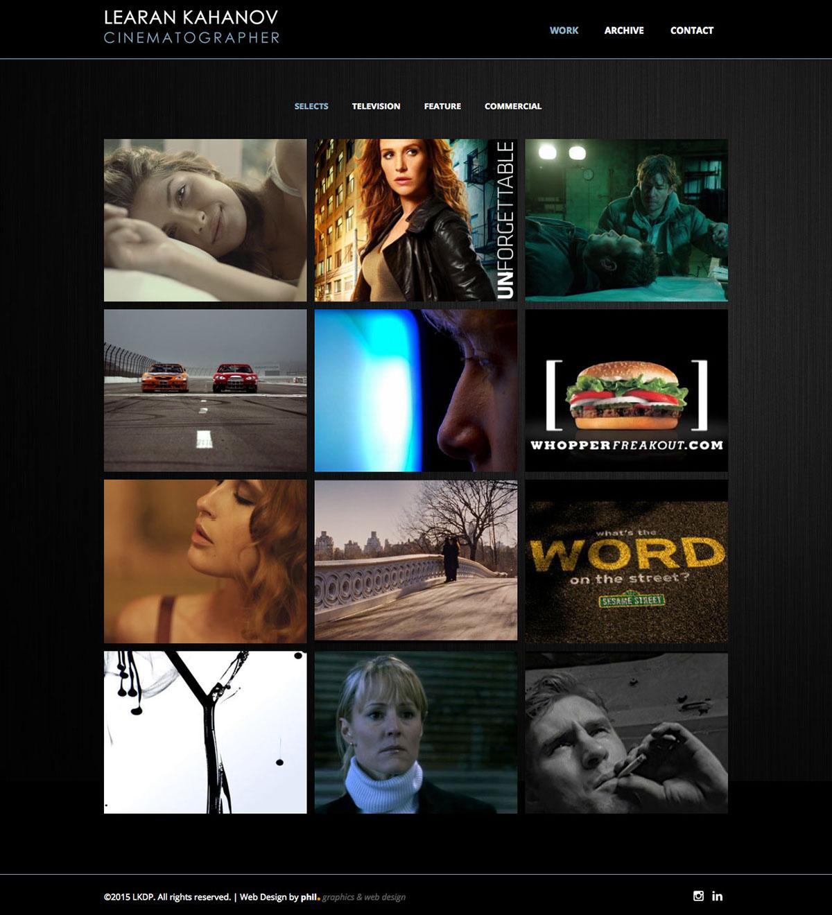 Learan Kahanov - Cinematographer Website Design