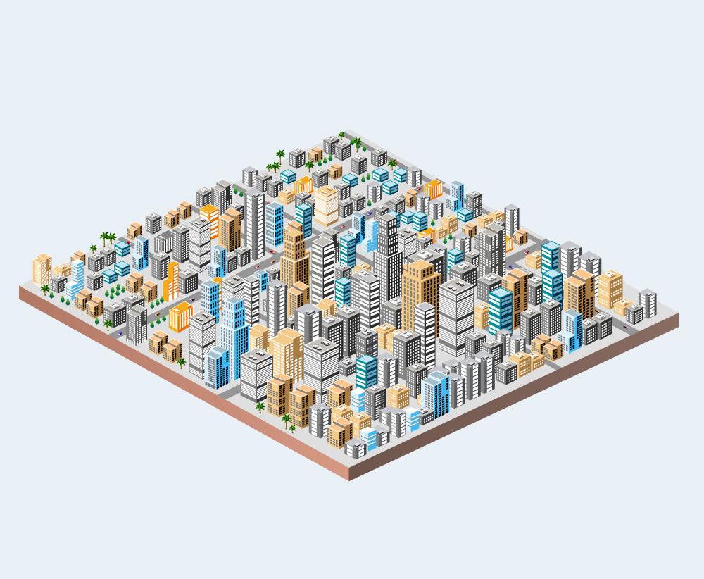Isometric city business buildings Transport Street