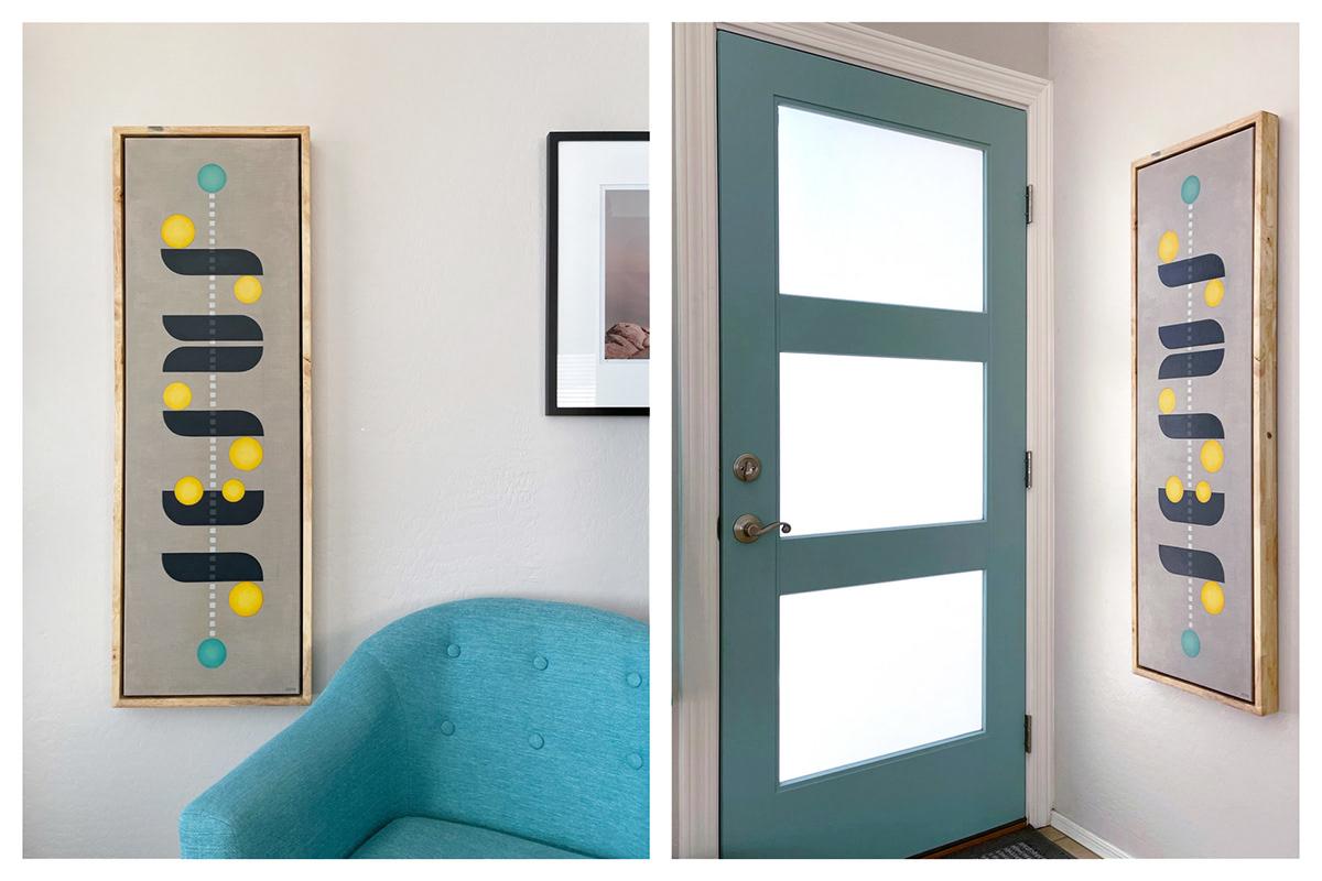 abstract linen midcentury minimalist modern oil painting   teal yellow bauhaus