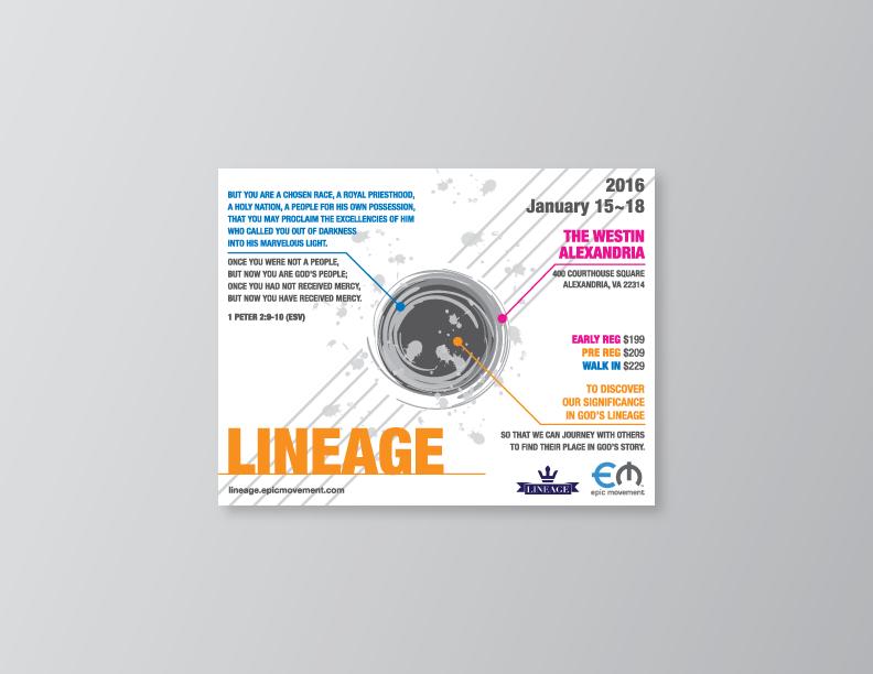 lineage promo postcard on behance