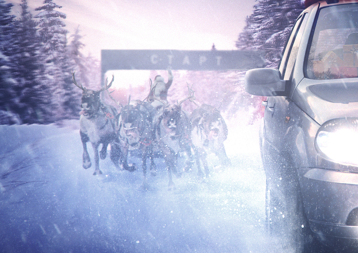 new year CHEVY niva car winter santa