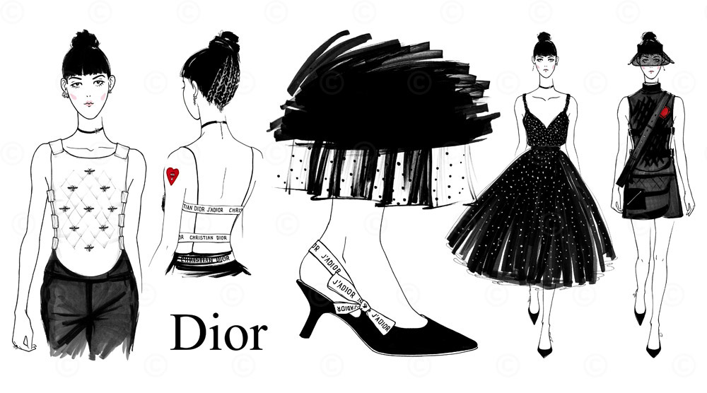 fashion sketches dior ss17 on behance