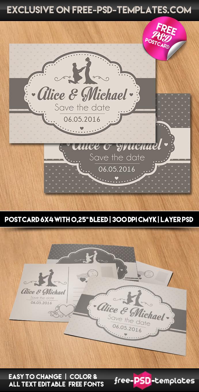 Wedding free psd postcard template on behance for Postcard psd template