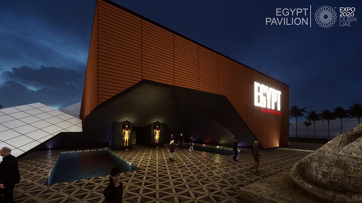 egypt pavilion in expo 2020  dubai  uae on pantone canvas