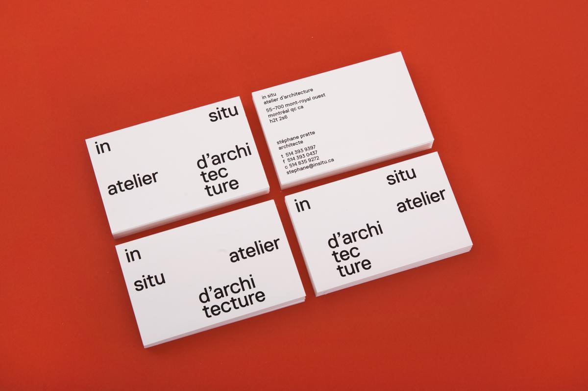 In situ stationary identity modernist replica type business card