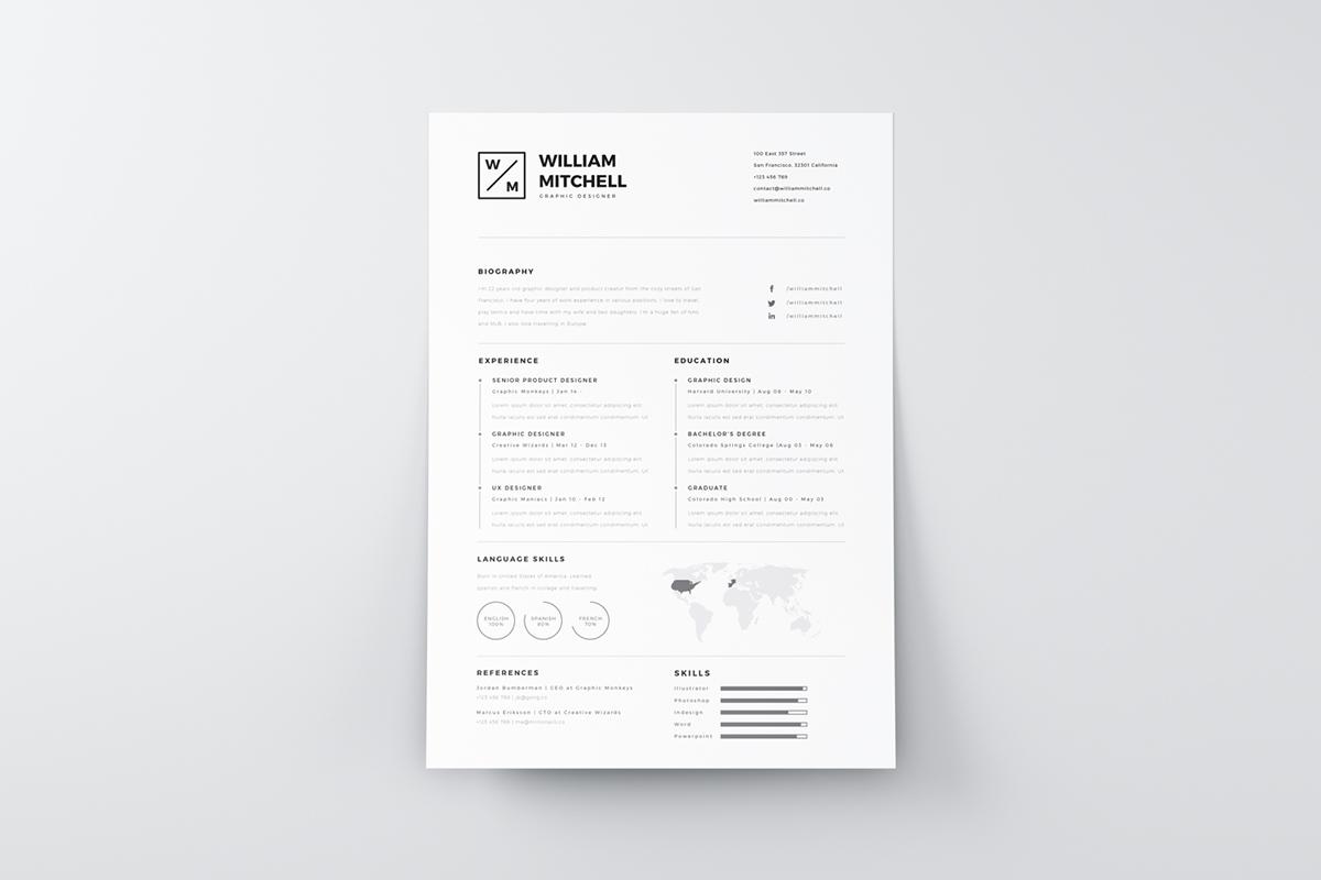 free Resume template CV freebie psd Illustrator photoshop ai inspiration creative minimal clean brand self