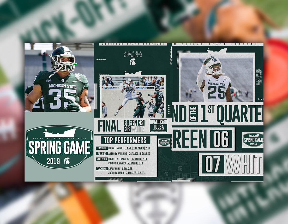 Michigan State Football   Spring Game Social Media Pkg on Behance