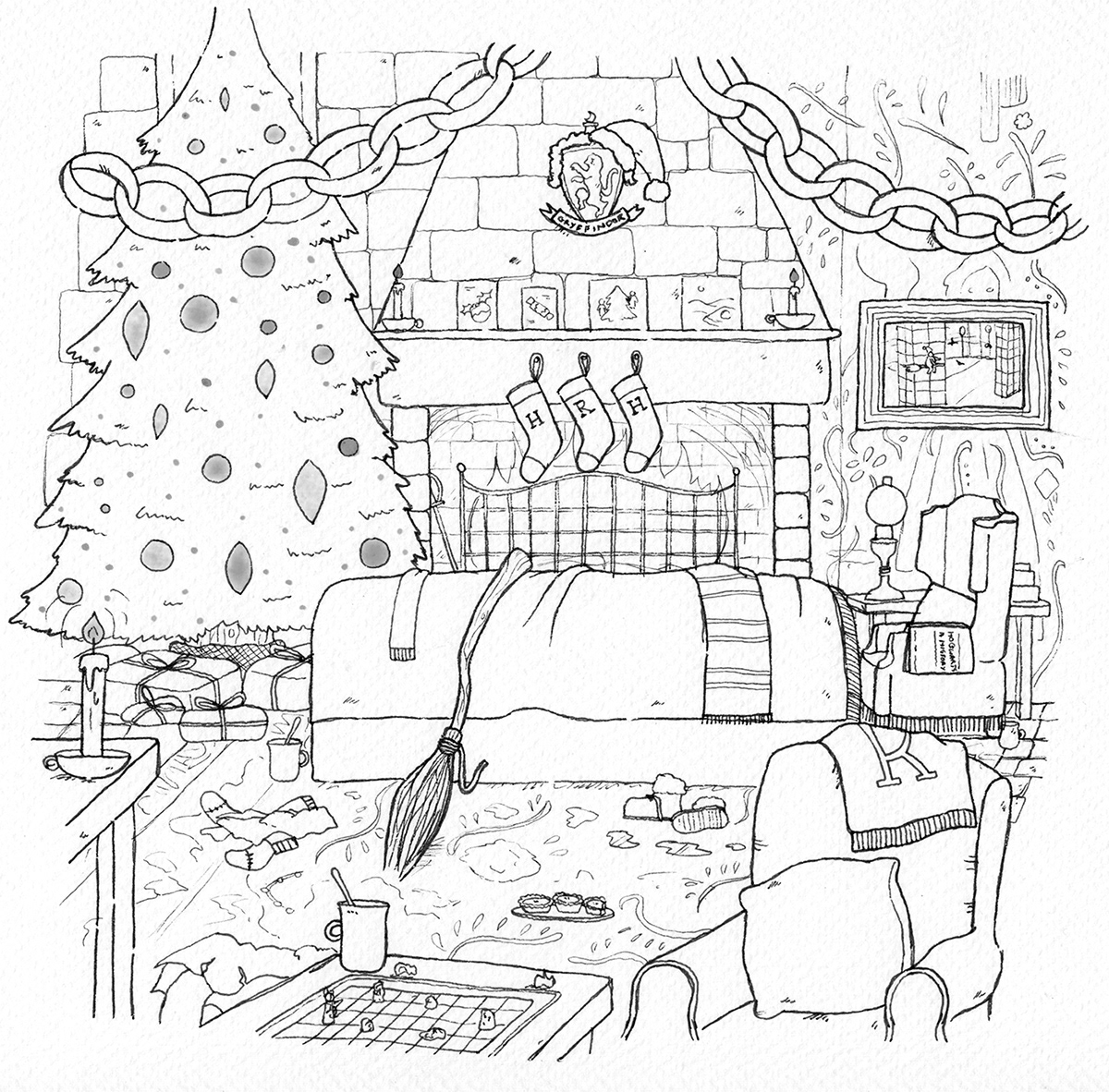 Christmas winter scene wizard Magic   snow school witchcraft Gryffindor hogsmeade