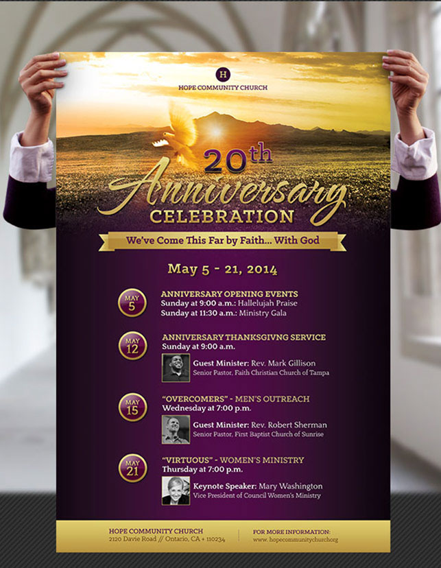 1 U2013 8.5u201dx11u201d Photoshop Church Anniversary Flyer Template 1 U2013 24u201dx36u201d  Photoshop Church Anniversary Poster Template